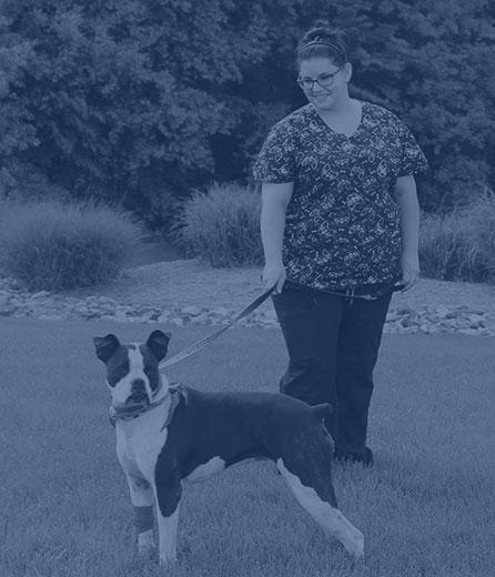 Pet Boarding in Wilkesboro: Technician Walking Dog
